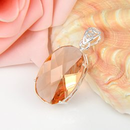 Wholesale Morganite Pendants - Popular Jewelry Luckyshine 2 Pieces 1Lot Fire Oval Morganite Crystal Gemstone 925 Silver Pendant Party Holiday Canada Mexico Jewelry Gift