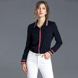 Wholesale Work Shirt Long Sleeve - Work Career Shirt Elegant Leisure Office Shirts Embroidery Lapel Neck Long Sleeve Vintage Blouse 2017 Autumn