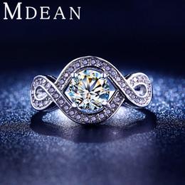 Wholesale Diamond Halo Wedding Ring - White gold plated jewelry CZ diamond Halo Round wedding Rings for women luxury vintage rings bague engagement MSR198