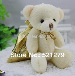 Wholesale Bear Bag Gift - Free shipping 24pcs 4.7inch plush joint Bear doll with gift bags,Small Wedding Gift toys,Valentine's Day gift toys