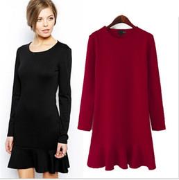 Wholesale Basic Dresses - Women's Brand Brief Sheath Dresses Women Ruffled Basic Dress Casual Party Sexy Dress Autumn Winter Plus Size XL