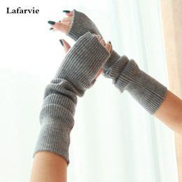 Wholesale Autumn Cashmere Sale - Wholesale-2015 Hot Sale Top Women Men Unisex Fashion High Quality Autumn Winter Knitted Ladies Solid Color Elbow Cashmere Gloves 6 Color