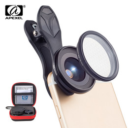 Wholesale Star Android Phones - APEXEL Original phone ., 25mm super macro . with star filter mobile photography macro lente for android ios smartphone . . lens