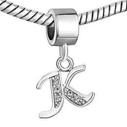 Wholesale Wholesale Alphabet Charms For Bracelets - 5 pcs per lot Wholesale Rhodium Plating Crysta Alphabet Letter Dangle Charm K-P Fits For Pandora Bracelet