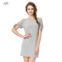 Wholesale Casual Grey Dress Shirt - Wholesale- Women Fashion Clothing 2017 Summer Casual Dress Grey Tops AS01008 Hot Sale Simple Fashion Round Neck Loose Comfortable T-shirts