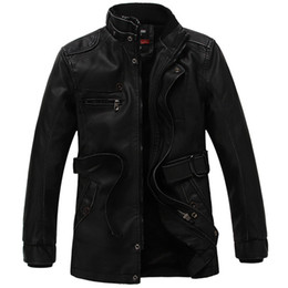 Wholesale genuine leather jackets sale - Wholesale- 2017 Hot Sales Medium Style Business Men's PU Leather Jacket Men Jacket Warm Winter Coat M-3XL Father Parkas