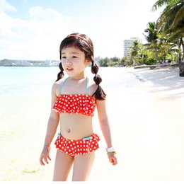 Wholesale Girls Swimwear Year - 2016 new girl 2 piece sets falbala round dot Swimwear swimsuit bathing suit with cap children kids baby beach clothes fit 2-8 year