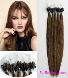 Wholesale Nano Ring Hair Extensions Indian - 100beads 100g Micro Ring Loop Hair Extensions Indian Remy Human Hair #6 Medium Brown Nano Loop Hair Straight Easy Use Health