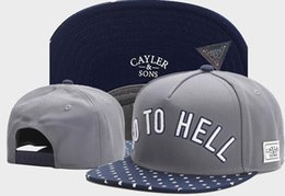 Wholesale Hell Free - Grey Blue Fashion Hip Hop bones Snapback hats for men women Baseball Caps cayler sons GO TO HELL street snapback hats TYMY 719