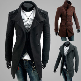 Wholesale Double Breasted Strap Trench Coat - Fashion New Men Casual Shoulder strap double-breasted trench Long coat lapel slim fit Trench Coats Unique Men's Clothing
