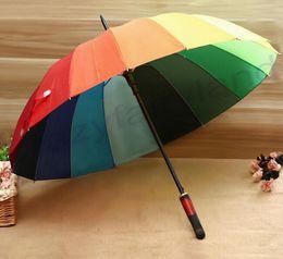 Wholesale Golf Water Proofs - 50PCS Wholesale Fedex Free Rainbow Umbrella Water Proof Sun Rain 16K Golf Umbrella Golf Automatic Long-handle