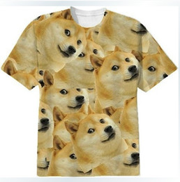 Wholesale 3d dog shirts - 2014 New Women Men Funny Head doge 3D Short sleeve T-shirt God dog shiba inu print 3D Tees Tops plus size