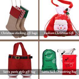 Wholesale High Quality Pants - 2018 New high quality canvas Christmas stocking gift Santa pants bags Xmas stocking Christmas decorative socks bags Santa Drawstring Bag
