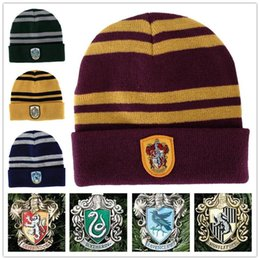 Wholesale Easter Character Costume - Harry Potter Hat School Unisex Knited hats Cosplay Costume Warm Stripe hats Christmas gift hat LA155-2