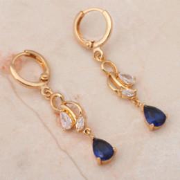 Wholesale Blue Topaz Drop Earrings - Brand 18k Yellow gold plated Blue crystal AAA Zirconia Dangle Drop earrings Health Nickel & Lead free Fashion jewelry JE749A