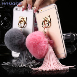 Wholesale Girly Iphone Covers - I6   Plus! TPU Clear Slim Cute Case for iPhone6 6S   iPhone 6 6s Plus Rabbit Fur Ball Tassels Girly Woman Transparent Back Cover