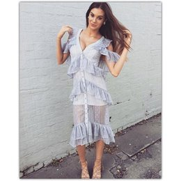 Wholesale Gilt Buttons - New design fashion women's sexy off shoulder short sleeve silver gilding shinny ice blue color layered ruffles mermaid long dress vestidos