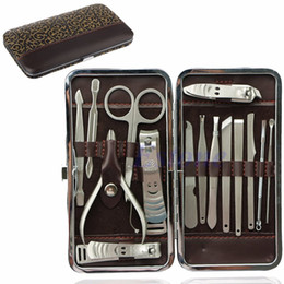 Wholesale Nail Clean - 15pcs Pedicure Manicure Set Nail Clippers Cleaner Cuticle Grooming Kit Case New Nail Care Tools Good Quality