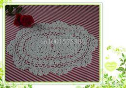 Wholesale Free Crochet Placemats - Wholesale - Free shipping hand made Crochet Table mats Placemats, 100% cotton Doily, coaster 25X38CM 6PCS LOT a025