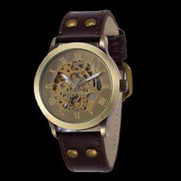 Wholesale Shenhua Watches - 2015 New Fashion Vintage Antique Bronze Skeleton Mechanical Watch Men Leather Automatic Watch Shenhua Brand Wristwatch