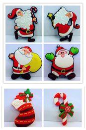 Wholesale Home Fridge - 6 styles Creative cartoon Santa Claus stickers PVC Cute design Fridge magnets home decor 12pc lot kids Magnetic decorative Santa Claus