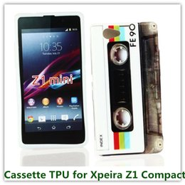 Wholesale Xperia Z1 Tpu - 1PCS Drop Shipping Fashion Rerto Cassette Tape Radio Pattern Case for Sony Xperia Z1 MINI  Z1 Compact   M51w D5503 Phone Bag