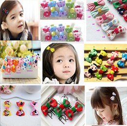 Wholesale Hairbows Printed Ribbon - Baby Girl Grosgrain Ribbon Hair Bows Children Hair Accessories Baby Hairbows Girl Hair bows with clips barrettes wholesale - 0022HW
