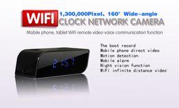 Wholesale Spy Clock 32gb - Newest Wifi clock Camera 1080P Hidden Spy Cam IP Clock Mini Camcorders HD 160 Deg with Night Vision Black Support 32GB TF Card
