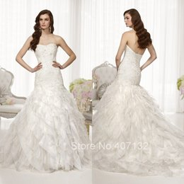 Wholesale Organza Mermaid Strapless Wedding Dress - Gorgeous Bridal Strapless With Lace Ruffles Organza Free Shipping New Arrival Wedding Dresses Mermaid 2015