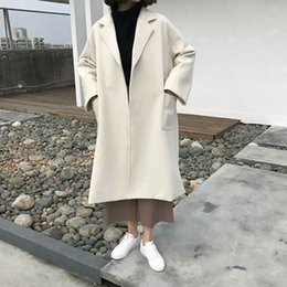 Wholesale Thick Korean Women Models - 2017 new Korean split ends, loose long, wool coat, thick face cloth coat, female models