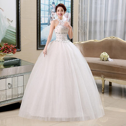 Wholesale Korean Retro Dress - New Halter Autumn Bride Strapless Dress 2015 Hot Sale Sweetange Korean Style Sweet Romantic Lace Up Princess Retro Cap Sleeve