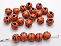 Wholesale Sparkle Round Bead - 100 Brown Sparkling Silver Basket Ball Pattern Acrylic Round Beads 12mm