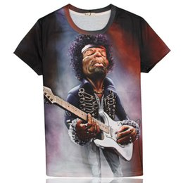 Wholesale El Guitar - 2015 summer Europe and new rock and roll guitar 3D clown character pension creative 3D short sleeve t shirt tops tees