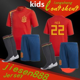 Wholesale Boys Shirts Sale - 2018 Spain kids soccer shirt RAMOS ISCO PIQUE SERGIO A. INIESTA M. ASENSIO THIAGO MORATA home Football uniforms sales Spain kits