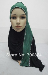Wholesale Scarf Assorted - Wholesale-H725a new style cotton jersey two color combine scarf with rhinestones,fast delivery,assorted colors