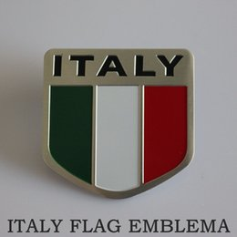 Wholesale 3d Stickers Italy - 3D Aluminum Car Decoration Sticker Italy Flag Emblema Bandeira Italia Side Badge Drapeau Autocollant Free Shipping