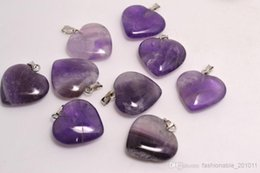Wholesale Amethyst Loose Beads - Lots wholesale jewelry Cue Heart Naturl Amethyst Gemstone Loose Beads Silver Plated Hook Fit Bracelets and Necklace DIY #B96