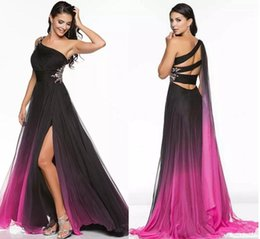 Wholesale Ombre Beaded Prom Dresses - 2018 Gradient Ombre Side Split Prom Dresses,Formal Evening Gown One-Shoulder Party Dress Crystal Waist Modern Women Pageant Gowns