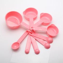 2019 copos de plástico livre 10 x de plástico colheres de medição colheres colheres de sopa de ferramentas para assar café rosa-J117 frete grátis desconto copos de plástico livre