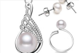 Wholesale Beaded Pendant Earrings - Top freshwater pearl jewelry sets sterling 925 silver pendant necklace earring and ring sets for women birthday wedding present
