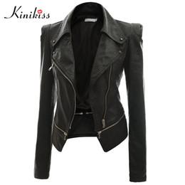 2019 encaje negro chaqueta con cuentas corta Al por mayor- Kinikiss 2017 moda mujer chaqueta de cuero negra corta abrigo otoño sexy steampunk motocicleta chaqueta de cuero abrigo gótico femenino