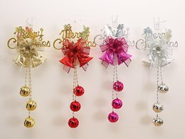 Wholesale Gold Plastic Bells - Christmas tree Decorative Store ornaments plastic Bell letter Bow tie Pendant DIY Party Party Supplie gold silver red Mixed color wholesale