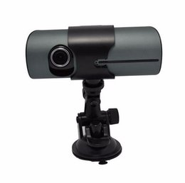 """Wholesale Digital Camcorder Microphone - mini X3000 R300 2.7""""LCD HD 720P Dual lens Car DVR GPS scanning and positioning Video Camcorder Car Camera Driving Recorder G-sensor"""