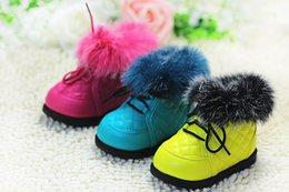 Wholesale Baby Prewalker Shoes Brand - Hot new winter brand baby warm Rabbit hair boots baby prewalker shoes first walkers baby cotton-padded shoes infant snow boots