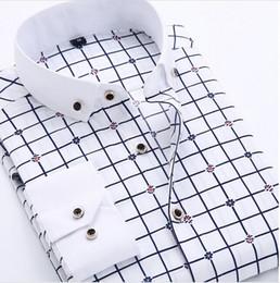 Wholesale Mens Dress Shirts Polka Dot - Striped shirt Men 2015 New Autumn turn-down collar Floral Mens shirt Slim fit polka dots casual shirts male 4xl men clothes