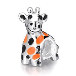 Wholesale Giraffe Beads - Wholesale 925 Silver Charm Cute Giraffe European Charms Bead Fit DIY Pandora Snake Chain Bracelet Jewelry