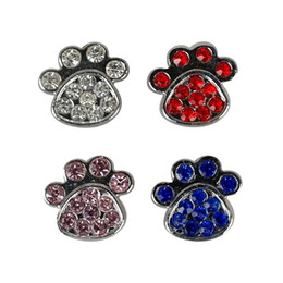 Wholesale paw dog collar - (4 Colors) Paw Style 10mm Rhinestone Diamante Dog Pet Charms DIY Slider Charms Personalized free shipping