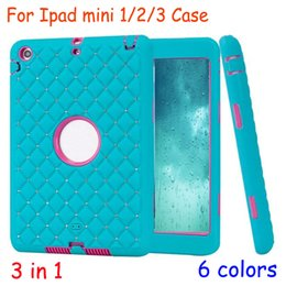 Wholesale Apple Ipad Bling Cases - Shockproof Bling Diamond Starry Checkered Hybrid 3 in 1 Dual Color Layer Armor Heavy Duty Case For Ipad Mini 1 2 3 cases