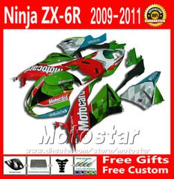 Wholesale Motorcycle Body Kit For Kawasaki - Full fairing body kit for Kawasaki ZX6R 09 10 11 12 ZX-6R 2009 - 2012 ZX636 green red motorcycle fairings set XC35