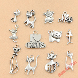 Wholesale Mixed Tibetan Silver - 120pcs Mixed Tibetan Silver Cat Charms Pendants For Jewelry Making Craft DIY Findings Accessories Handmade